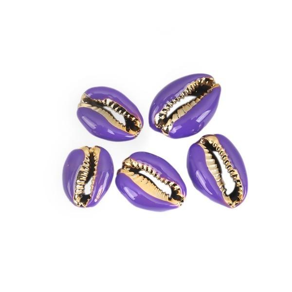 PS110215202 PAX 4 slides médaillons émaillés Coquillage Cauri Violet sur une base en métal Doré - Photo n°1
