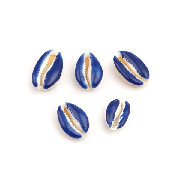PS110215139 PAX 5 slides médaillons émaillés Coquillage Cauri Bleu Foncé - Photo n°1