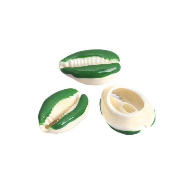 PS110215134 PAX 5 slides médaillons émaillés Coquillage Cauri Vert - Photo n°3