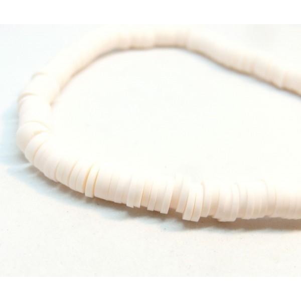 H0676 Lot 1 fil d'environ 380 Perles rondelles Heishi en pâte polymère 6 par 1mm couleur 16 - Photo n°2