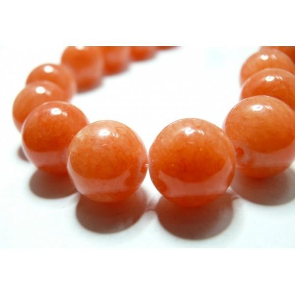 10 perles jade Mashan teintée couleur Orange Corail 14mm - Photo n°1
