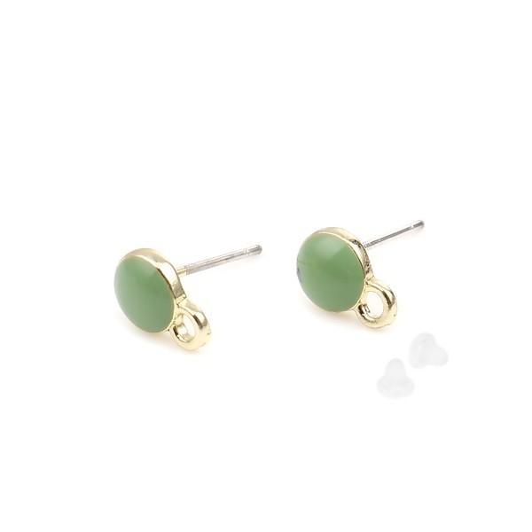 PS110254409 PAX 4 Supports de Boucle d'oreille puce Ronde style emaillé Vert sur support doré - Photo n°1