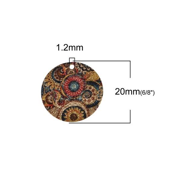 PS110095617 PAX 5 pendentifs breloques stardust Ronde 20mm Géométrique Doré - Photo n°2