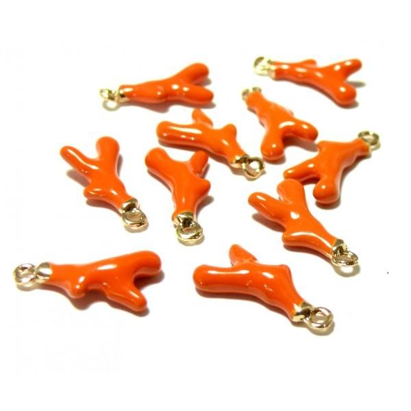 PS110111731 PAX 5 breloque pendentifs Corail 18mm résine style emaille Orange 18 mm sur base dorée - Photo n°1