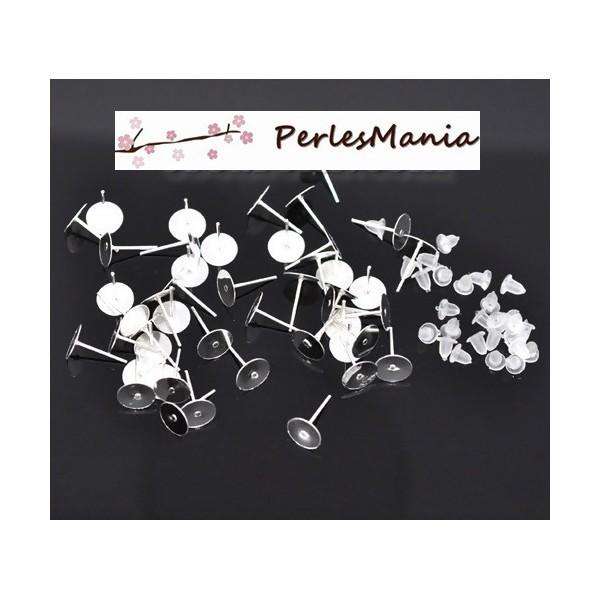 PS1111068 PAX 250 Boucle d'oreille clou puce FORME PLATEAU Lisse 8mm Argent Vif - Photo n°1