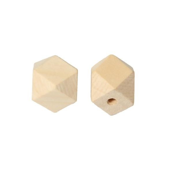 PS1176071 PAX 10 perles en Bois polygones Naturel 20mm - Photo n°1