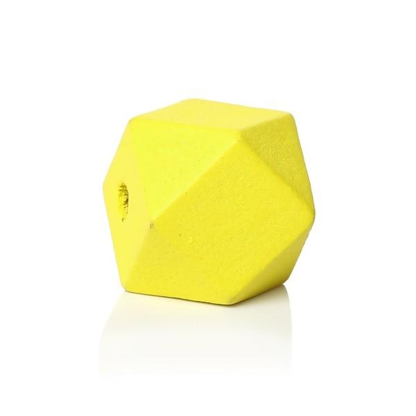 PAX 30 perles en Bois polygones Jaune 20mm S1144153 - Photo n°1