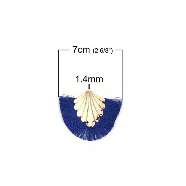 PS110108905 PAX 1 pendentif Eventail avec Franges Coloris Bleu et Doré - Photo n°2