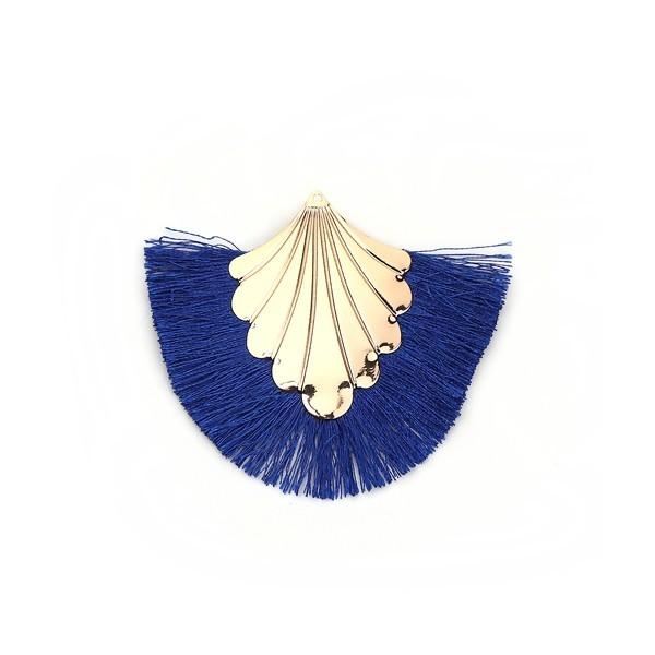 PS110108905 PAX 1 pendentif Eventail avec Franges Coloris Bleu et Doré - Photo n°1