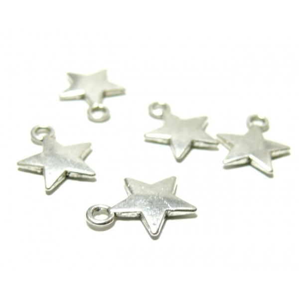 PAX 50 pendentifs breloques étoiles métal couleur Argent Platine ZN64076 - Photo n°1
