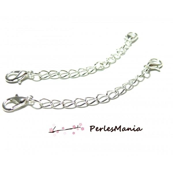 PS1195316 PAX: 10 chaines de confort 5cm, chaine d'extension avec mousquetons Argent Vif - Photo n°1