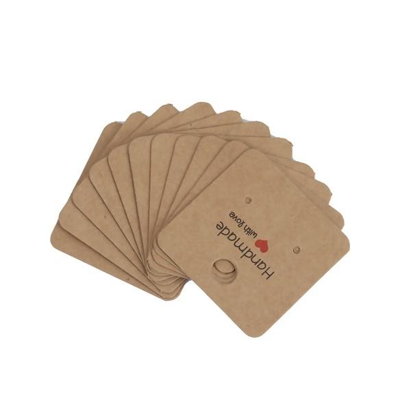 PS110138484 PAX 40 cartes de présentation Carré 4cm pour Boulce d'oreille Hand made with Love - Photo n°2