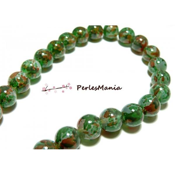 H1126 1 fil d'environ 60 perles de verre multicolores Ton Vert Ronde 12mm - Photo n°1