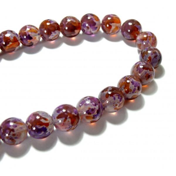 H1126 1 fil d'environ 60 perles de verre multicolores Ton Violet Ronde 12mm - Photo n°1