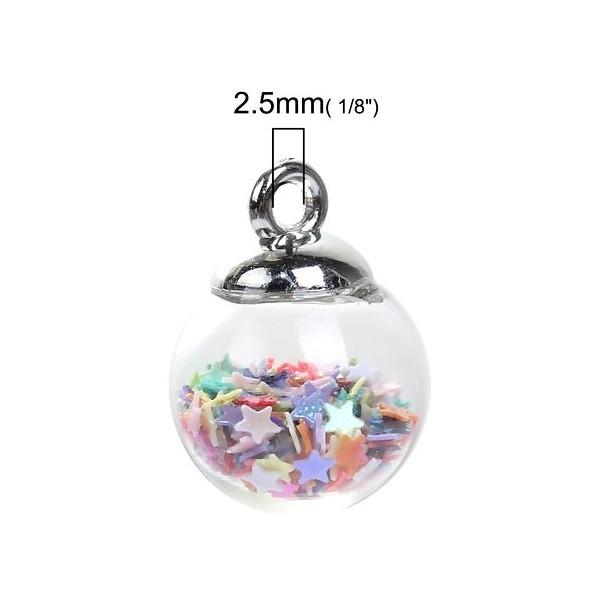 PS1190278 PAX 5 pendentifs GLOBES BULLES en Verre avec Sequins Etoiles Multicolores - Photo n°3