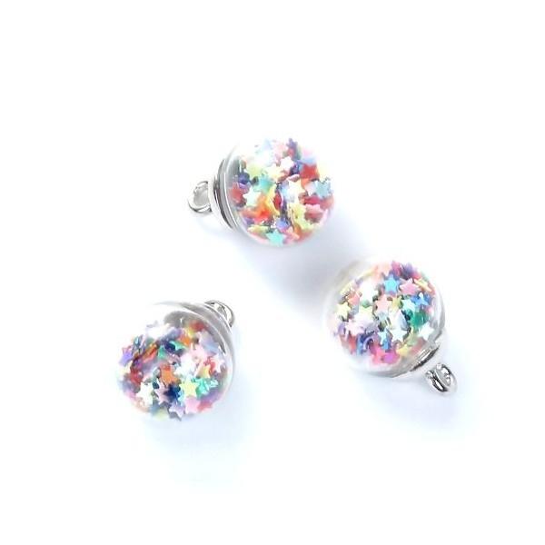 PS1190278 PAX 5 pendentifs GLOBES BULLES en Verre avec Sequins Etoiles Multicolores - Photo n°1