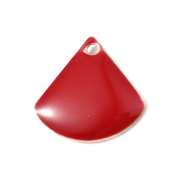 PS110140407 PAX 5 sequins médaillons émaillés Eventail 13 par 12mm Rouge - Photo n°1