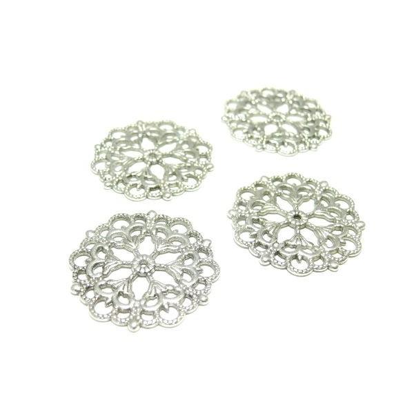 H11623 PAX 10 pendentifs multiconnecteurs Fleur dentelle metal couleur Argent Vif - Photo n°1