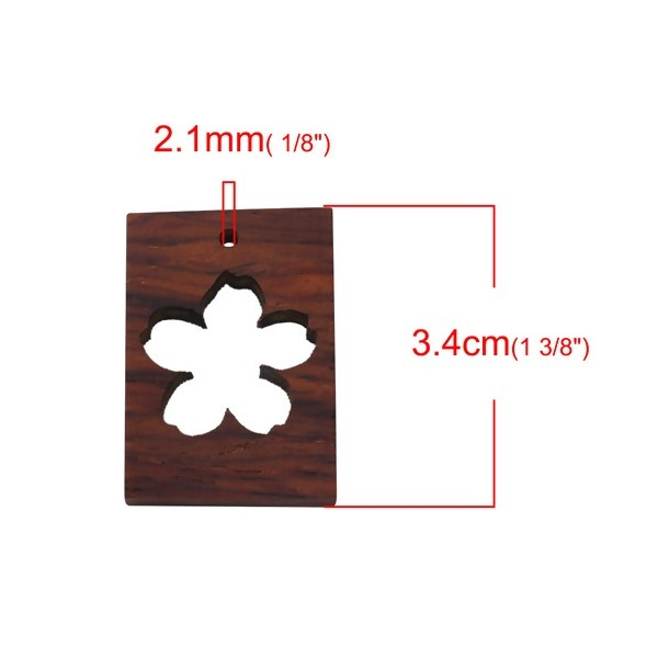 S110090751 PAX 1 Moule en Bois pendentif Fleur de Sakura utilisation FIMO RESINE - Photo n°2