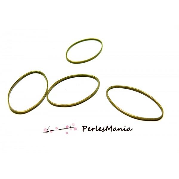 H11921C PAX de 20 pendentifs anneau connecteur fermé OVALE 25 par 11 mm metal coloris BRONZE - Photo n°1