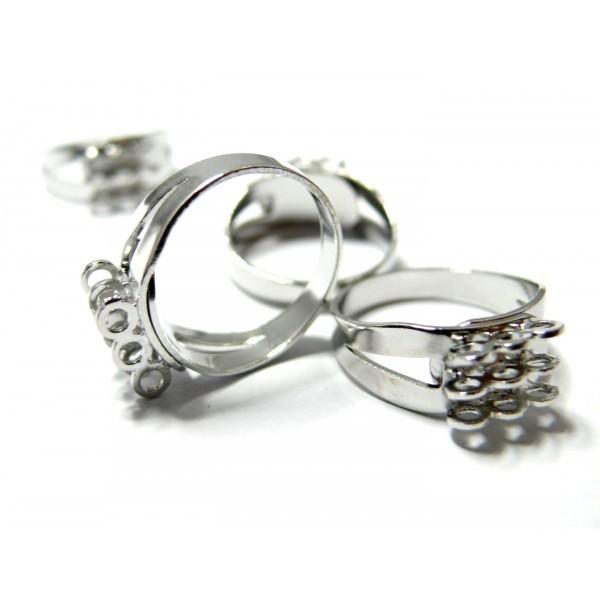 BN1123208 PAX 5 bagues multi anneaux triple rangs Laiton Couleur Argent Platine - Photo n°1