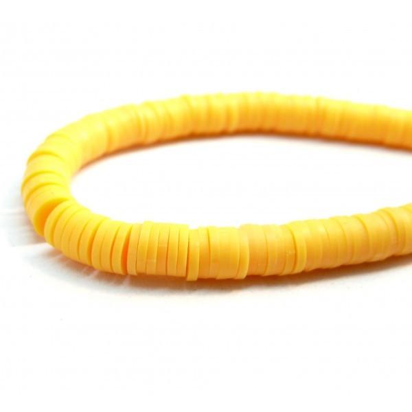 H0676 Lot 1 fil d'environ 380 Perles rondelles Heishi en pâte polymère 4 par 1mm couleur 15 - Photo n°2