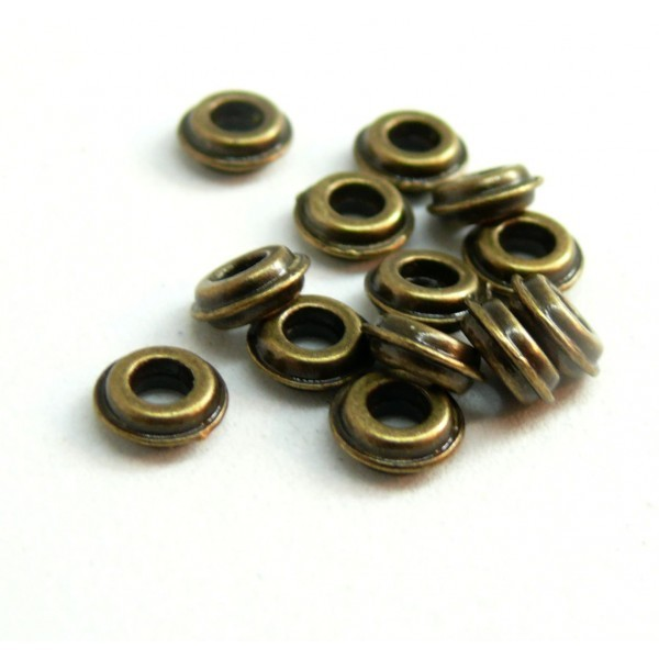 H11556Y PAX 50 perles intercalaires Rondelles 6mm metal couleur Bronze - Photo n°1