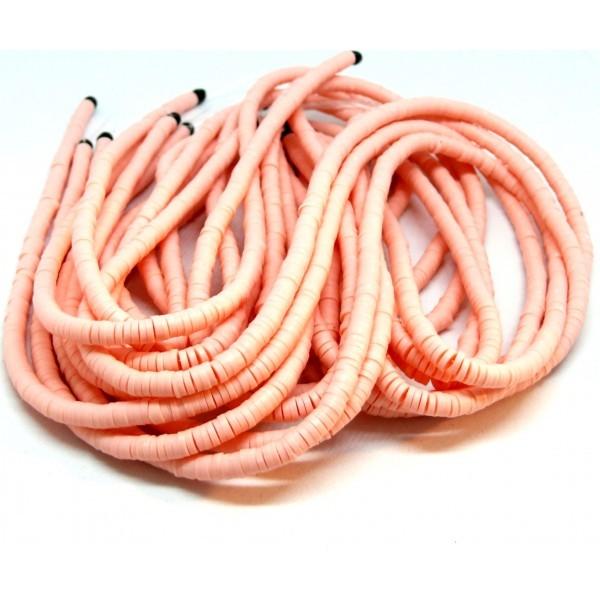 H0676 Lot 1 fil d'environ 380 Perles rondelles Heishi en pâte polymère 4 par 1mm couleur 18 - Photo n°1