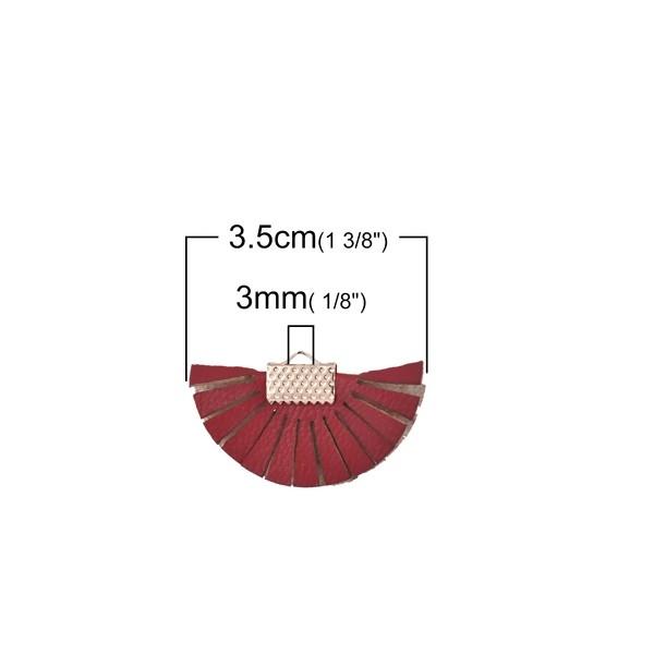 PS110102058 PAX 10 pendentif Eventail avec Franges Simili Cuir Coloris Rouge Vin - Photo n°1