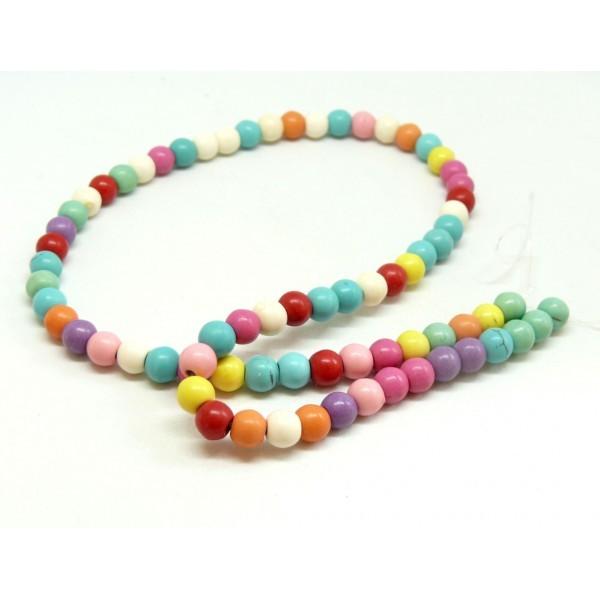 120615091010 1 fil d'environ 66 perles Turquoise Howlite mulitcolores pastel 6 mm - Photo n°1