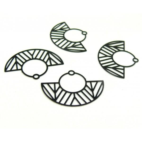 AE115547 Lot de 4 Estampes pendentif filigrane demi cercle Art Deco Noir 23 par 30mm - Photo n°1