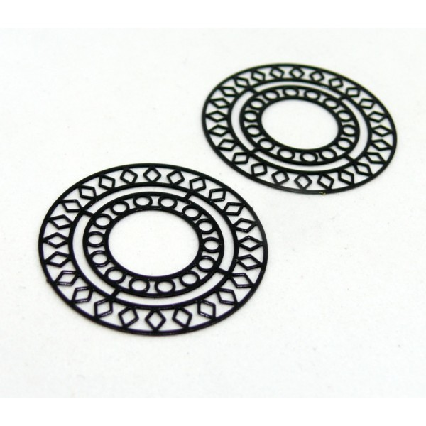 AE115421 Lot de 4 Estampes pendentif filigrane Mandala 30mm métal couleur Noir - Photo n°2