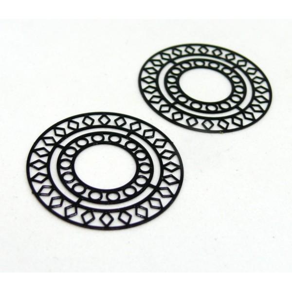 AE115421 Lot de 4 Estampes pendentif filigrane Mandala 30mm métal couleur Noir - Photo n°1