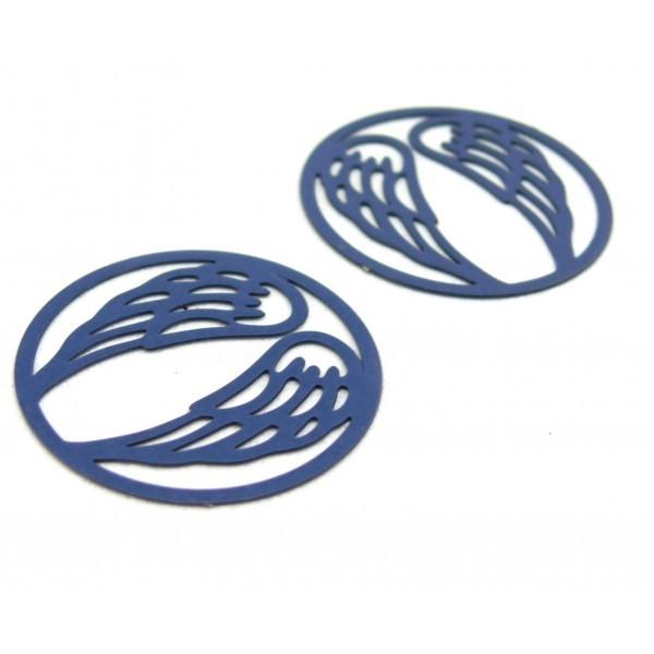 AE115683 PAX de 4 Estampes connecteur filigrane Medaillon Aile d'ange 25 mm Bleu Gris - Photo n°1