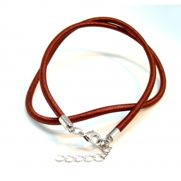 H11512 PAX 5 colliers Ras de Cou en soie TISSEE Marron Fauve 3mm - Photo n°1