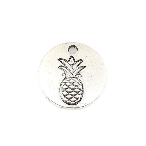 PS110255486 PAX de 25 pendentifs breloque Medaillon Ananas 12 mm couleur Argent Antique - Photo n°1