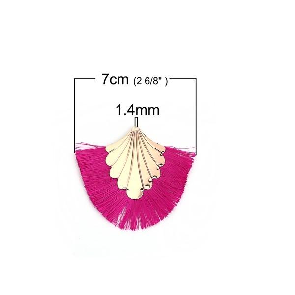 PS110108904 PAX 1 pendentif Eventail avec Franges Coloris Rose Fuschia et Doré - Photo n°2