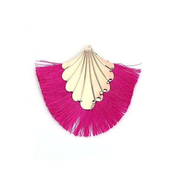 PS110108904 PAX 1 pendentif Eventail avec Franges Coloris Rose Fuschia et Doré - Photo n°1