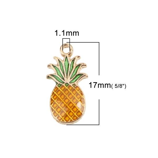 PS110228162 PAX 10 pendentifs petit ananas style emaillé sur base doré - Photo n°3
