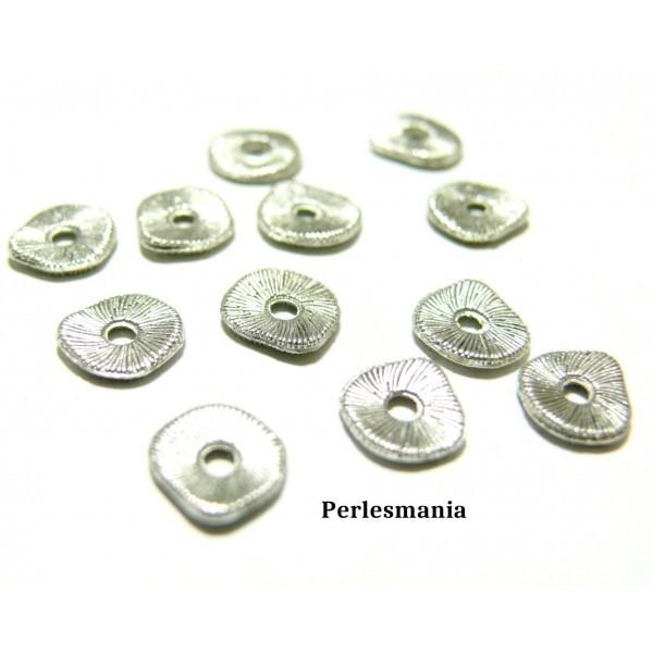 PAX 100 perles intercalaires Stries metal couleur Argent Antique 2Y4430 - Photo n°1