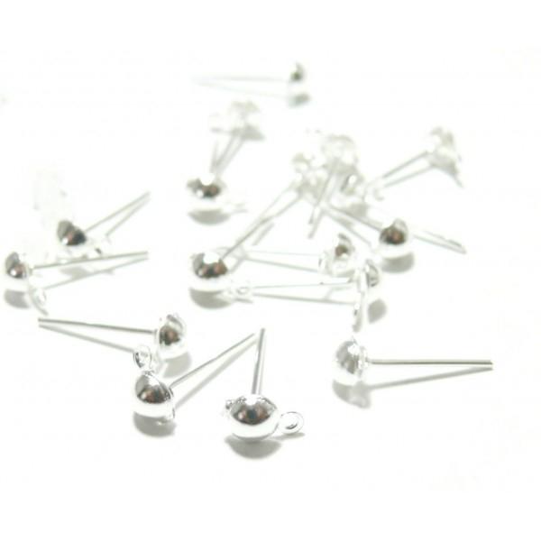 121228202218 PAX 50 Supports de Boucle d'oreille Puce 4mm Dome avec attache Argent Vif - Photo n°1