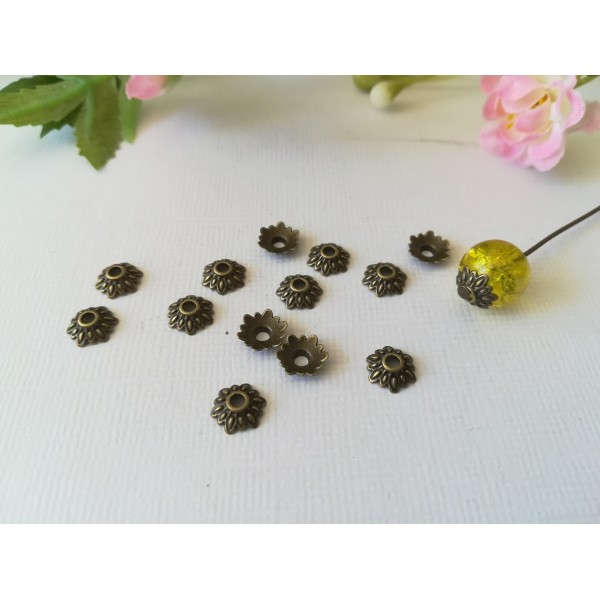 Coupelles fleur 6 mm bronze x 20 - Photo n°1