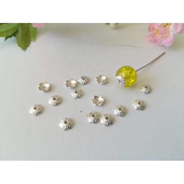 Coupelles fleur 6 mm argenté motif pétales x 30 - Photo n°1