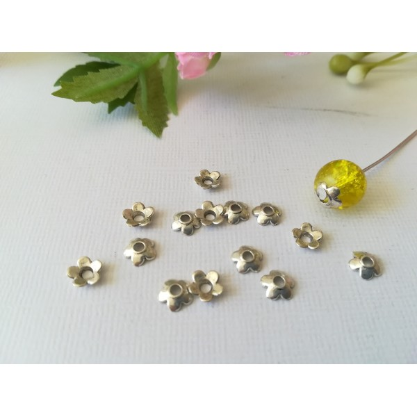 Coupelles fleur 6 mm argent mat x 20 - Photo n°1