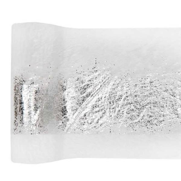 Chemin de table fourrure éclat argent 14 cm x 3 mètres - Photo n°1