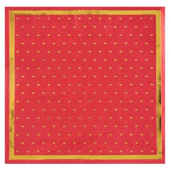 20 Serviettes en papier Passe-partout rouge et or métallisé - Photo n°1