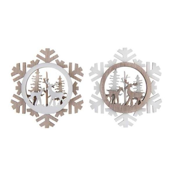 Petites décorations de Noël cerf et sapin en bois - Photo n°1