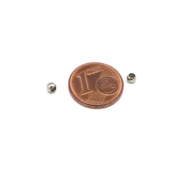 20 Perles Ronde 3mm Argenté En Acier Inoxydable Pour Cordon 1,5mm - Photo n°2