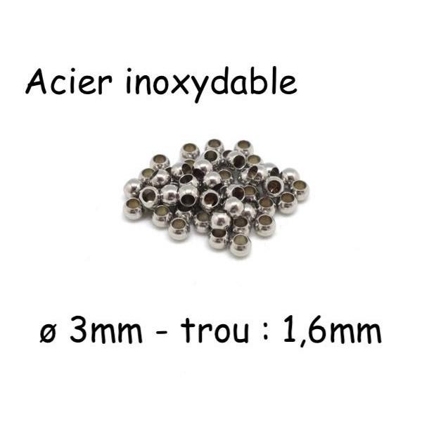 20 Perles Ronde 3mm Argenté En Acier Inoxydable Pour Cordon 1,5mm - Photo n°1
