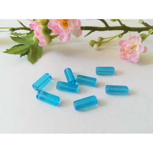 Perles en verre tube 15 x 6 mm bleu ciel x 10 - Photo n°1